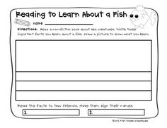 Reading to Learn About Sea Creatures. $ Writing printables for 10 different sea creatures.