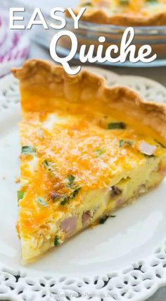 This Easy Quiche Recipe starts with a premade pie crust but no one has to know! It's loaded with ham, cheese and green onions and is the perfect easy breakfast or dinner! #spendwithpennies #quicherecipe #simpleeggs #simplebreakfast #brunchideas #quickrecipes #healthybreakfast #foracrowd