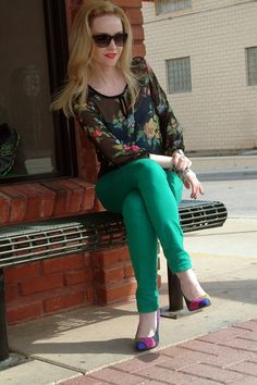 Green Jeans & Floral Blouse