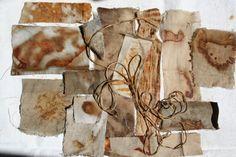 Natalie Magnin - Zamirte Textiles - Textile and Fiber Art: rust dyeing Textiles Sketchbook, Art Textile, Color Theory, Surface Design, Fiber Art, Printing On Fabric, Indigo, Moose Art, Travel Mugs