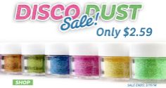 Find Disco Dust on Sale only $2.59 each this week select colors.  Sale ends 3/11/14.   CaljavaOnline.com #caljava #discodust #cakedecorating