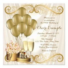 Womans Ivory and Gold Birthday Party Card