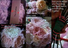 DIY Fabric flower bouquet :  wedding bouquet diy fabric flowers ivory pink Bouquettuto