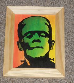 "Frankenstein on fire.  Acrylic on panel. 6""x4"""