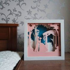 Night light lovers in the garden wedding gift romantic gift shadow box 3d Paper Art, Paper Artwork, Paper Crafts, Shadow Light Box, Shadow Box Art, Adult Scavenger Hunt, Origami, Paper Cutting, Art Lessons