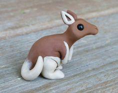 Tiny red kangaroo - Handmade miniature polymer clay animal figure