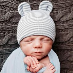 27f650220b827 Grey and White Striped Baby Bear Newborn Boy Hospital Hat