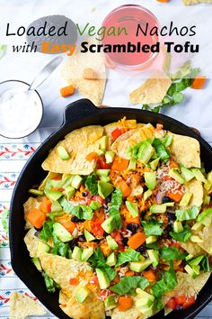 Loaded Vegan Nachos With Easy Scrambled Tofu - make the scrambled tofu for breakfast and use the leftovers on these delicious, healthy nachos for a snack or party food! Healthy Nachos, Vegan Nachos, Healthy Vegan Snacks, Vegan Appetizers, Appetizer Recipes, Breakfast Healthy, Vegan Mexican Recipes, Delicious Vegan Recipes, Healthy Dinner Recipes