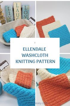 The Ellendale washcloth has it all! Great texture, an easy pattern repeat and uses only knit purl stitches. Knit Purl Stitches, Dishcloth Knitting Patterns, Knit Dishcloth, Loom Knitting, Knit Patterns, Cross Stitch Patterns, Knitted Washcloths, Knitted Hats, Crochet Cross