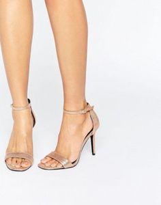 ShoeLab Mid Heel Metallic Sandal