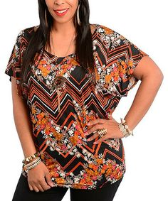 Loving this Black & Rust Floral Zigzag Top - Plus on #zulily! #zulilyfinds
