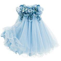Lesy Luxury Flower - Blue Tulle & Satin Flower Dress with Jewels | Childrensalon