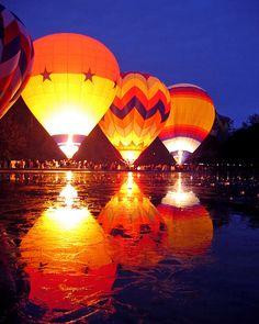 hot air balloons, lights, reflection