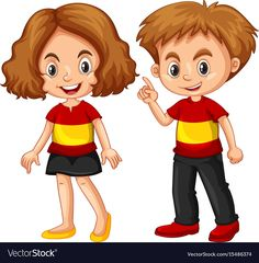 Boy and girl wearing shirt with spain flag vector image on VectorStock Spain Flag, Clip Art Pictures, Flag Vector, Camping Gifts, Aesthetic Gif, Cute Kids, Boy Or Girl, Vector Free, Mojito