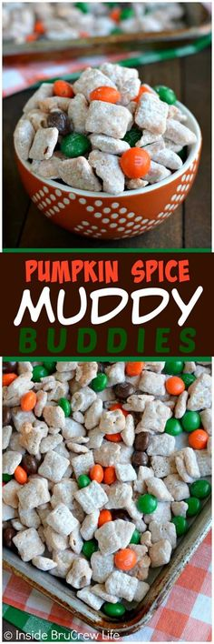 Cinnamon Pumpkin Spice Muddy Buddies - this easy snack mix is coated in pumpkin spice chocolate and has lots of fall colored candies. Great no bake recipe to make for fall parties!  #fall #muddybuddies #pumpkinspice #snackmix