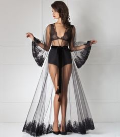 Amoralle Royal Tulle Lace Maxi Robe