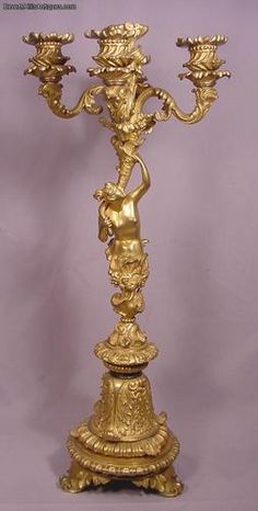 19th Century Gilt Bronze 5 Light Candelabra