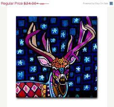 Deer Art Tile Ceramic Coaster Animal Antlers от HeatherGallerArt