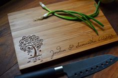 "Personalized Cutting Board ""heart Tree"" Bamboo Wood For Wedding Or Anniversary…"