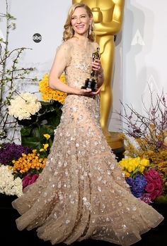 """Cate Blanchett in the Press Room in 2014 with her Best Actress Oscar for """"Blue Jasmine"""".  Photo: Getty."""