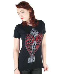 068879bd0e8f0 NEW Too Fast Black T-Shirt Slashed Back Heart Key Gothic Punk Lolita M