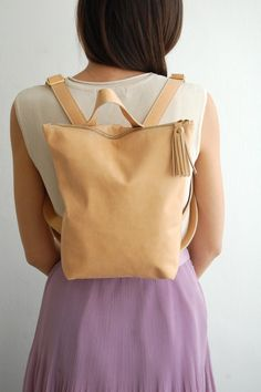 Cream leather backpack soft leather backpack by Albertinaboutique