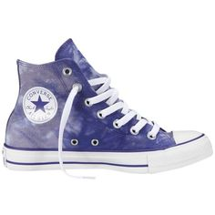 Converse Chuck Taylor All Star Tie Dye Hi-Top Trainers, Purple / White ($71) ❤ liked on Polyvore featuring shoes, sneakers, converse, zapatos, chaussures, white hi top sneakers, high top canvas sneakers, canvas lace up sneakers, low heel shoes and converse shoes