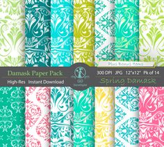Damask Digital Paper Pack : 'Spring Damask' – for scrapbooking, crafting, invitations, cardmaking – Green Turquoise Aqua Blue Pink Yellow