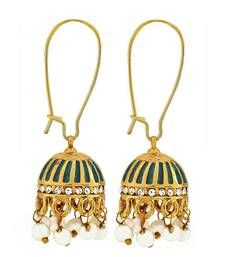 Buy Antique Indian Jewelry Trendy Pearl Dangler Earrings Blue Goldd danglers-drop online