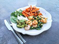 Superenkel, sunn middag med omega 3-poeng - Piaseeberg.no Scampi, Omega 3, Cobb Salad, Squash, Food, Pheasant, Spinach, Gourd, Meal