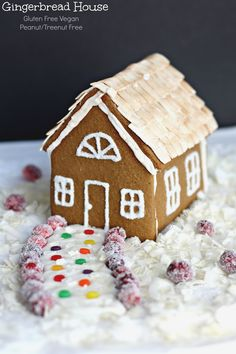 Gluten Free Gingerbread House (egg free Vegan)- Christmas is complete with an allergy friendly gingerbread with Egg free Royal Icing. Make it for Thanksgiving! #BRMHolidays, #clevergirls