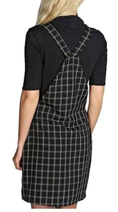 A black checkered overall dress for casual days where a tee and jeans just won't cut it.