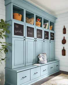We're totally digging this dreamy drop zone. Who wouldn't love plenty of storage paired with a pretty color? Mudroom Laundry Room, Mudroom Cubbies, Drop Zone, Home Remodeling, Basement Renovations, Entryway, House Design, Decoration, Storage