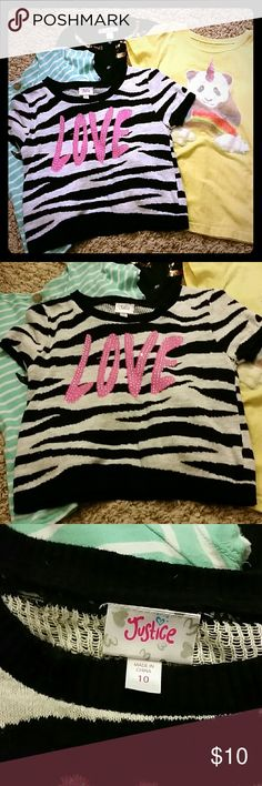 Mixed girly lot Justice Justice zebra short sweater top, button up gold sequin bow trim cardigan & 2 t-shirts. Large 19/12 I bundle! Justice Shirts & Tops