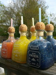 Frozen Mini-Ritas (Peach/Mango, Classic Lime, & Blue Raspberry) Personally the bottles don't fit in my car's cupholder My brain can only process these bottles as being much bigger than they . Liquor Drinks, Cocktail Drinks, Beverages, Cognac Cocktails, Empty Liquor Bottles, Patron Drinks, Patron Tequila, Patron Margarita Recipe, Alcohol Drink Recipes