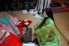 A Heian lady with a young girl, playing a board game of sugoroku. 20090205 533 by tatsushu, via Flickr