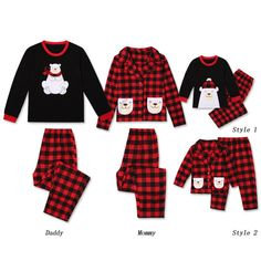 * Please add each size separately to your shopping cart.<br /> * Cute Bear appliques<br /> * Soft and comfy <br /> * Material: 100% Cotton<br /> * Include: 1 top, 1 bottom <br /> * Machine wash, tumble dry <br /> * Imported<br /> <br /> Featuring lovely family bear graphic, these sweet plaid pajamas are perfect for your family time. Made out of soft cotton material, it ensures a comfortable fit.