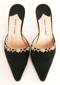 Manolo Blahnik black pointed toe heels with rhinestones