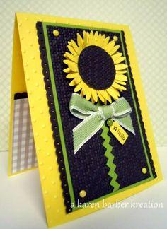 handmade card ... big paper art sunflower ... yellow, black and green ... stunning!!