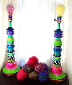 crazy colorful painted lamps