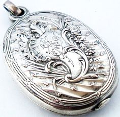 Beautiful art nouveau antique French silver rococo slide mirror locket for chatelaine