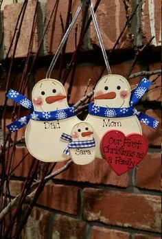 Snowman Family Ornament  Personalized  First Christmas by debwwu