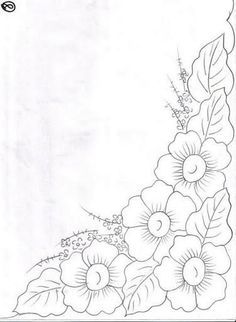 Border Embroidery Designs, Floral Embroidery Patterns, Embroidery Flowers Pattern, Simple Embroidery, Flower Art Drawing, Floral Drawing, Painting Patterns, Fabric Painting, Fabric Paint Designs