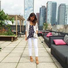 Mimi Ikonn | White trousers, floral top, blazer, heels | OOTD
