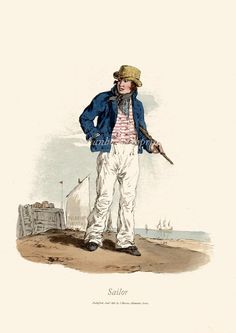 British Sailor Navy man Nautical print by swanboroughprints