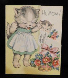 #372 Vintage 1950s Cute Kitten in Dress Surprised w Flowers Happy Birthday Card