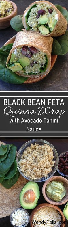 Black Bean, Feta & Avocado Quinoa Wrap with Avocado-Tahini Dip - These black bean and quinoa wraps make a fabulous vegetarian lunch!  With feta, Monterey jack, avocado and a flavor-filled Avocado-Tahini Dip, even the meat eaters will be thrilled! via @wendypolisi