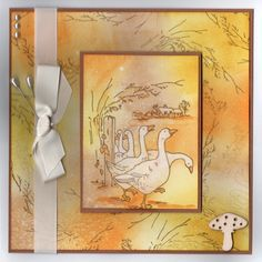 """Gaggle of Geese"" Handmade Card by Jo Rice Art Cards, Scrapbooking Ideas, Evans, Sheep, Cardmaking, Stamping, Card Ideas, Christmas Cards, Projects To Try"