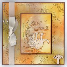 """Gaggle of Geese"" Handmade Card by Jo Rice"