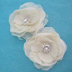 Bridal Hair accessory set Ivory Dupioni Silk and by HARTfeltart, $28.50